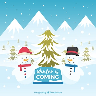 Background with snowmen winter is coming