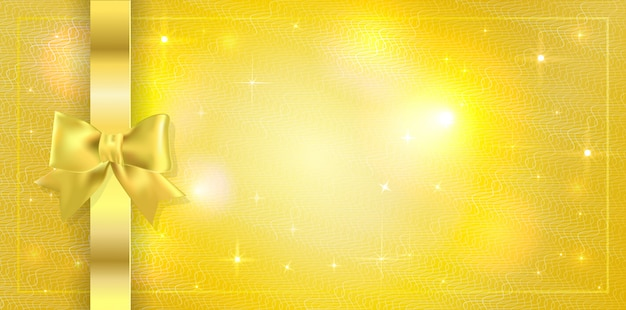 Background with sparkles stars and tied with ribbon with gold bow. copyspace