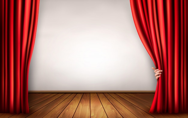 Background with a stage and a curtain