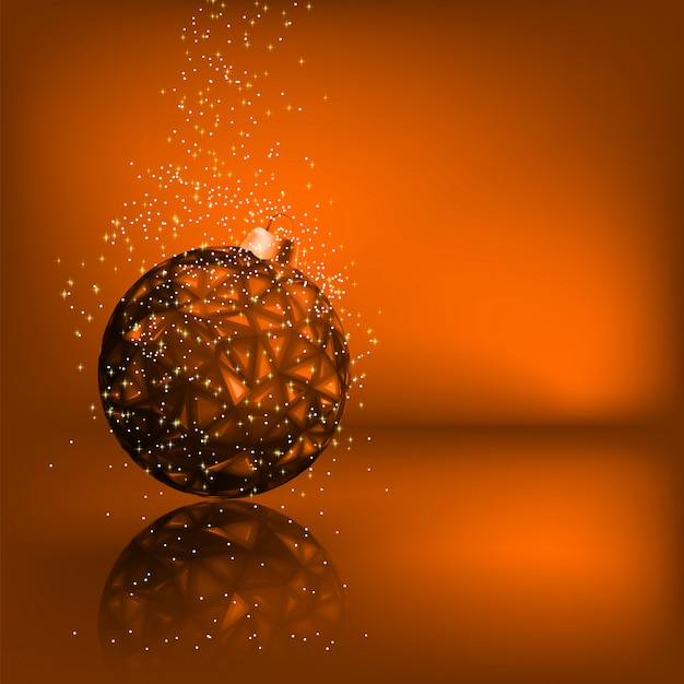 Background with stars and christmas ball.