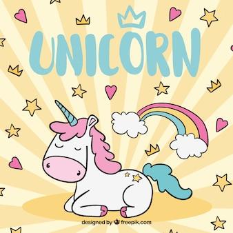 Sfondo con stelle e cuori con unicorno a mano disegnato