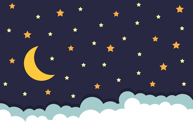 Background with stars moon and clouds on night sky
