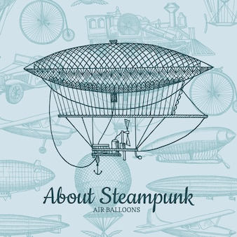 Background with steampunk hand drawn airships, air balloons, bicycles and cars with place for text. air balloon and airship transport, flight and travel illustration