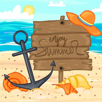 Background with summer items. cartoon style. vector illustration.