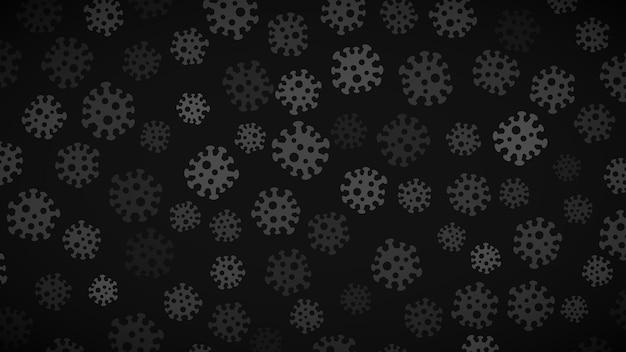 灰色の色合いでウイルスのシンボルと背景。コロナウイルスのパンデミックに関するイラスト。