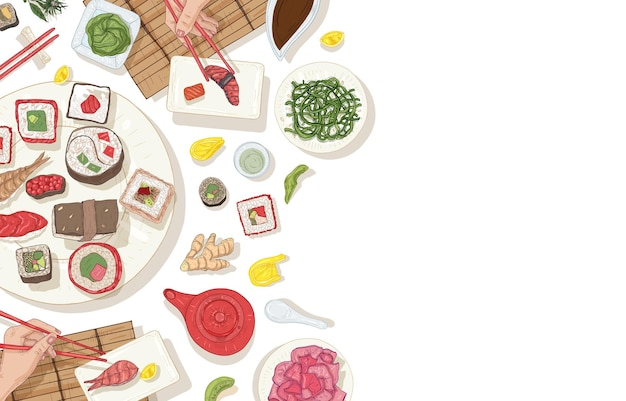 Background with table full of traditional japanese food and hands holding sushi, sashimi and rolls with chopsticks