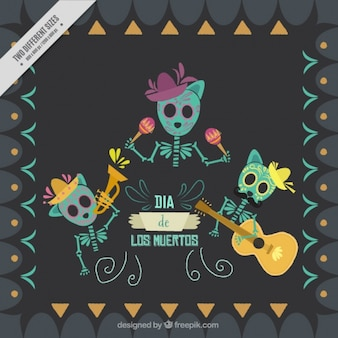 Background with three skeletons for the day of the dead