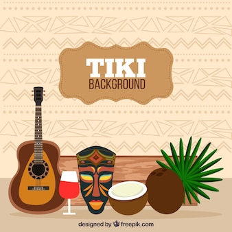 Background with tiki elements in flat design