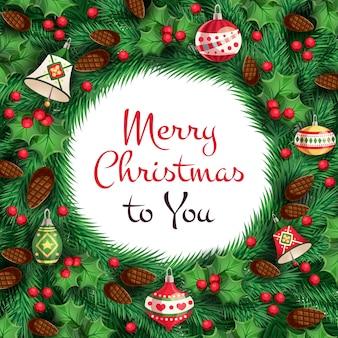 木の枝、モミの実、クリスマスのおもちゃ、鐘、メリークリスマスのテキストの背景。
