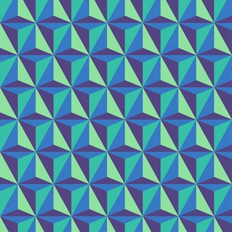 Background with tricolor geometric triangular prism patterns
