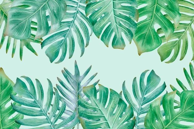 열 대 잎과 빈 공간 배경