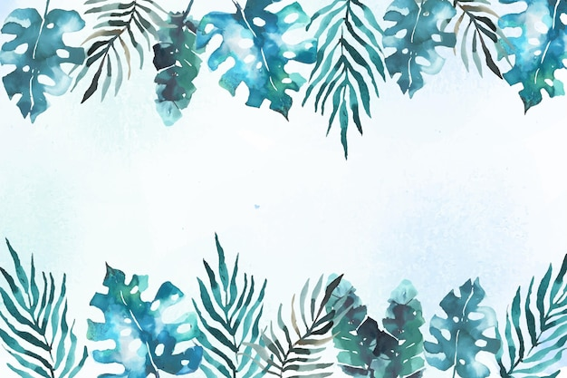Background with tropical leaves in watercolor