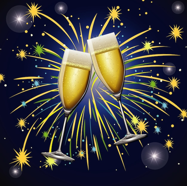 Background with two glasses of champagne and fireworks
