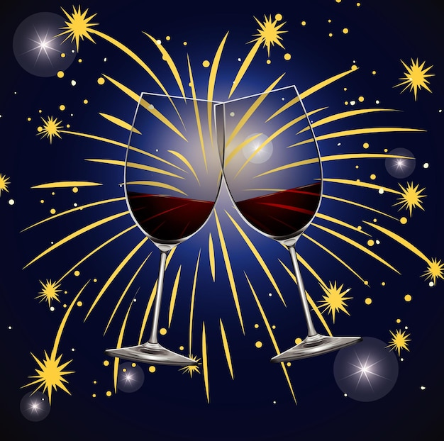 Sfondo con due bicchieri di champagne e fuochi d'artificio