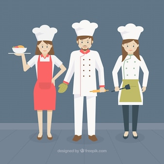 Background with various cooks