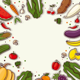 Background with various vegetables and fruit