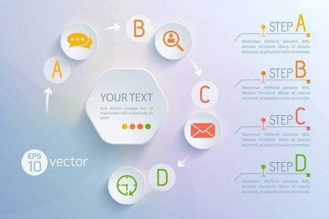 ラウンドチャットとメール交換アイコンテキスト段落図の仮想インターフェイスフローチャート円構成の背景