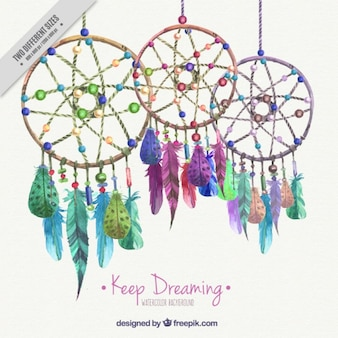 Background with watercolor colored dream catchers