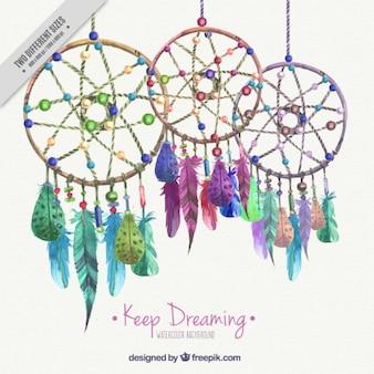 Фон с акварельными цветными ловцы снов
