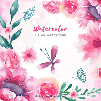 Background with watercolor floral