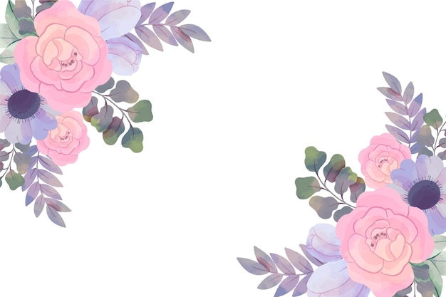 Background with watercolor flowers in pastel colors
