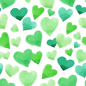 水彩の心の背景。聖パトリックの日の緑のシームレスなアイルランドのパターン