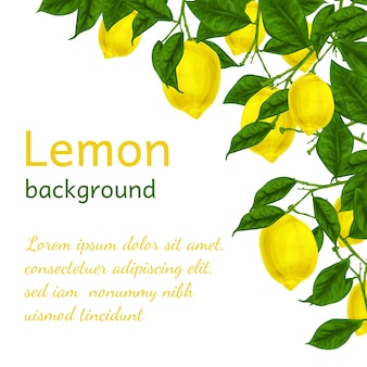 Background with watercolor lemons