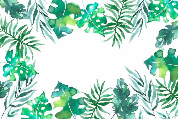 Background with watercolor tropical leaves