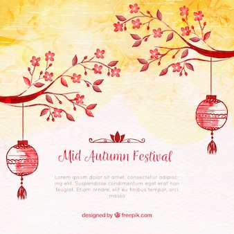 Background with watercolors, mid autumn festival