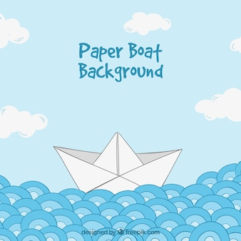 Background with waves and paper boat
