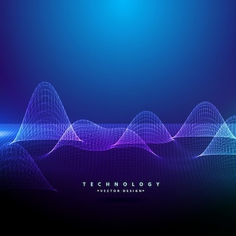 Background with wavy shapes, technological style