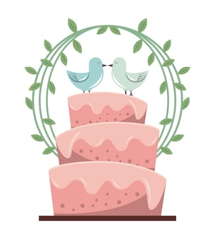 Фон с свадебным торт и голубей и цветочным декором