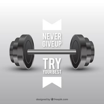 Background with weights and inspiring message