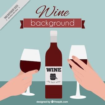 Фон с бутылкой вина и очки
