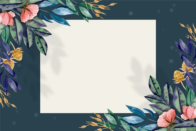 Background with winter flowers and bagde