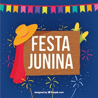 Background with wood poster of festa junina