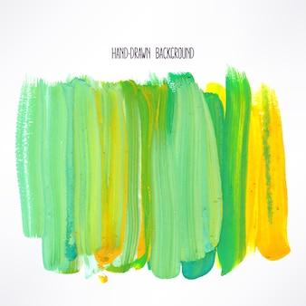 黄色と緑のストロークで背景。手描きイラスト