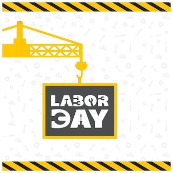 Background with a yellow crane for labor day