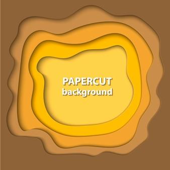 黄色のグラデーションカラーの紙のカット形状の背景