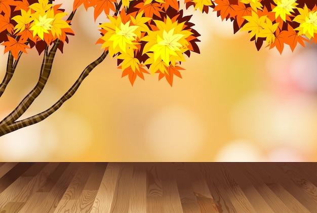Фон с желтыми листьями на дереве