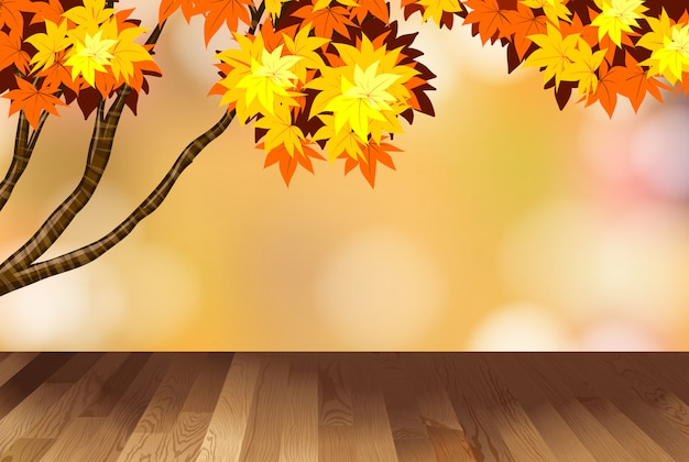 Background with yellow leaves on tree