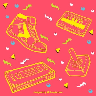 Background with yellow sketches of eighties objects