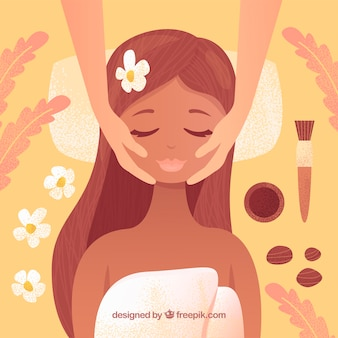Background of woman getting spa treatment