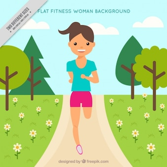 Background of woman running in the park