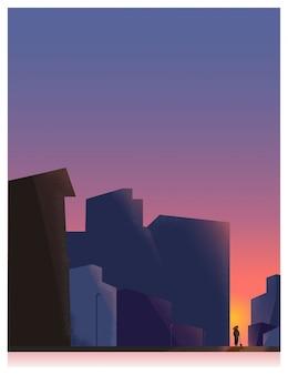 バニラミステリーbackground.womanの都市の空は、夜に散歩に犬を連れて行きます。