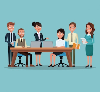 Background workplace office with teamwork executives working