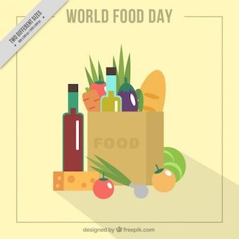 Sfondo della giornata alimentare mondiale con borsa della spesa