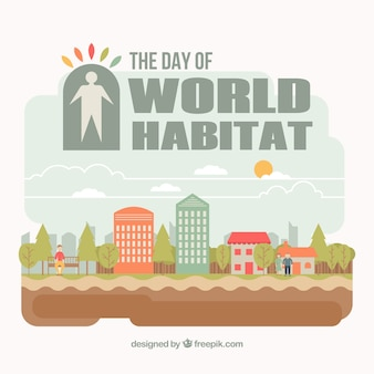 Background of world habitat day with beautiful houses