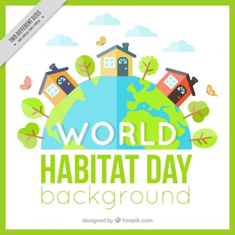 Background of world habitat day with houses in flat design