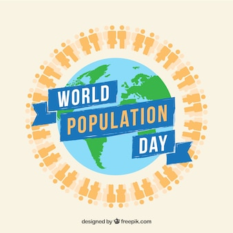 Background of world population day with people